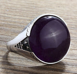 Statement Men's Ring with Natural Amethyst in Sterling Silver - J  F  M