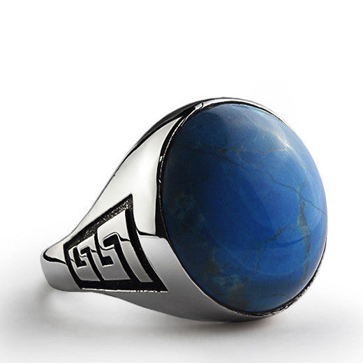 Natural Blue Turquoise Men's Gemstone Ring in Sterling Silver - J  F  M
