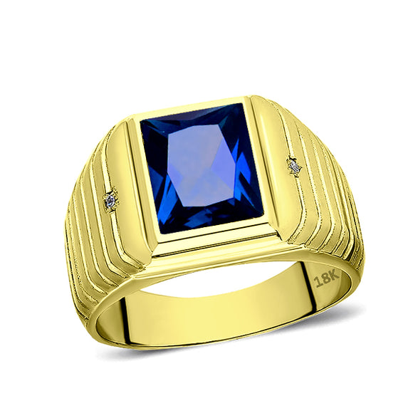 Mens Solid 18K Yellow Gold Blue Sapphire Ring 0.04ct Diamonds Fine Ring for Man