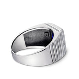 Mens Solid 14K White Gold Sapphire Ring 2 Natural Diamonds Heavy Ring for Man