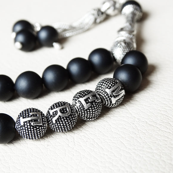 Onyx Tasbih Custom Name 925 SILVER Natural Black Matte Onyx Personalized Rosary Gift
