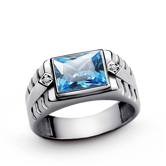 Men's Sterling Silver Ring with Blue Topaz Gemstone and Natural Diamonds - J  F  M