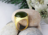 Men's Ring in 10k Yellow Gold with Green Agate, Natural Stone Ring for Men - J  F  M