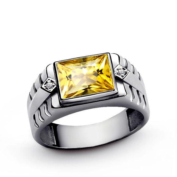 Men's Ring Yellow Citrine 925 Sterling Silver and Natural Diamonds - J  F  M