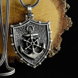 Sailor Rudder Anchor Necklace 925 Sterling Silver Mens Pendant With Real Silver Chain