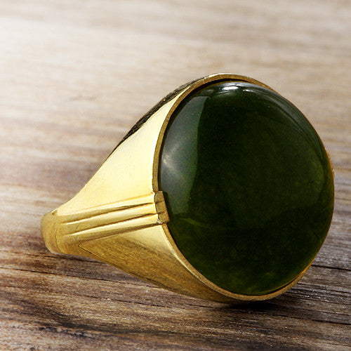 14k Yellow Gold Men's Artdeco Ring with Green Agate Natural Stone - J  F  M