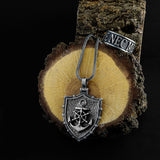 Sailor Ship Wheel Anchor Necklace 925 Silver Men's Pendant with Wheat Link Chain
