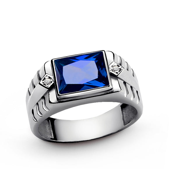 Men's Sapphire Ring with Genuine Diamonds in 925 Sterling Silver - J  F  M