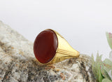 Men's Ring in 14k Yellow Gold with Red Agate Natural Stone - J  F  M