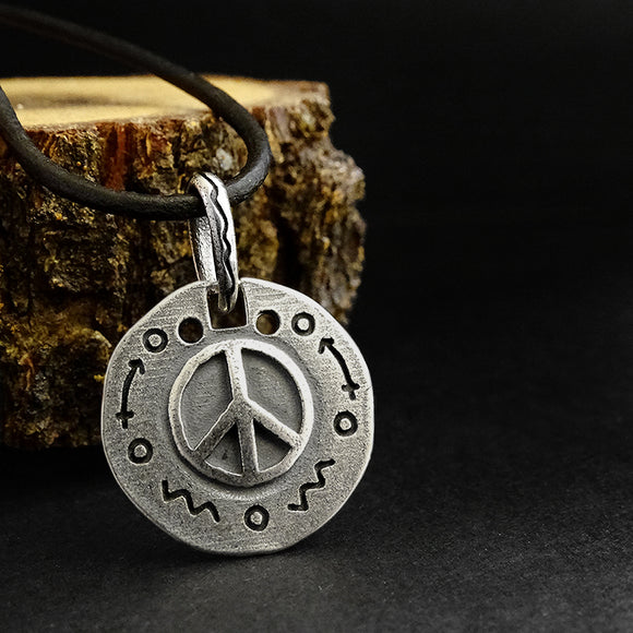 925 Sterling Silver Mens Peace Sign Charm Necklace Pendant