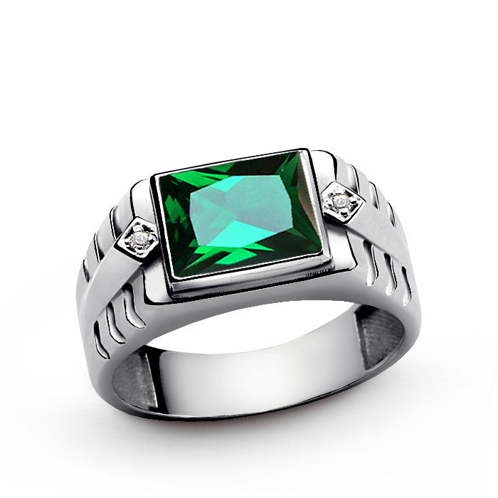 Green Emerald Gemstone Men S Ring Sterling Silver With