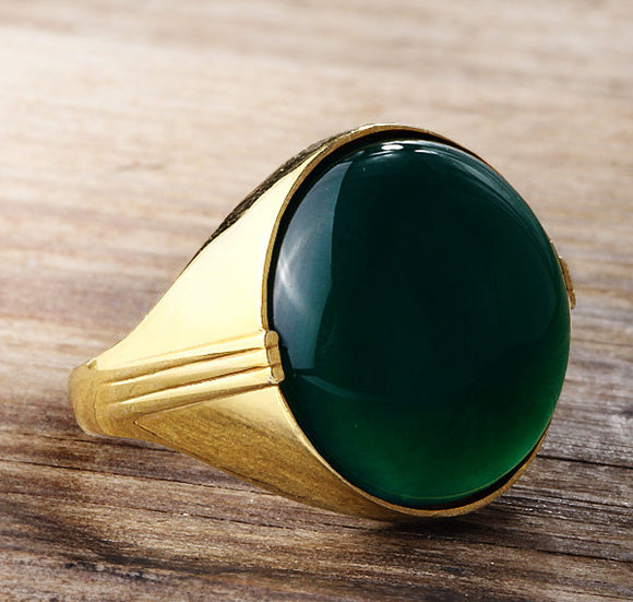 10k Gold Men's Ring with Natural Green Agate Stone, Artdeco Ring for Men - J  F  M