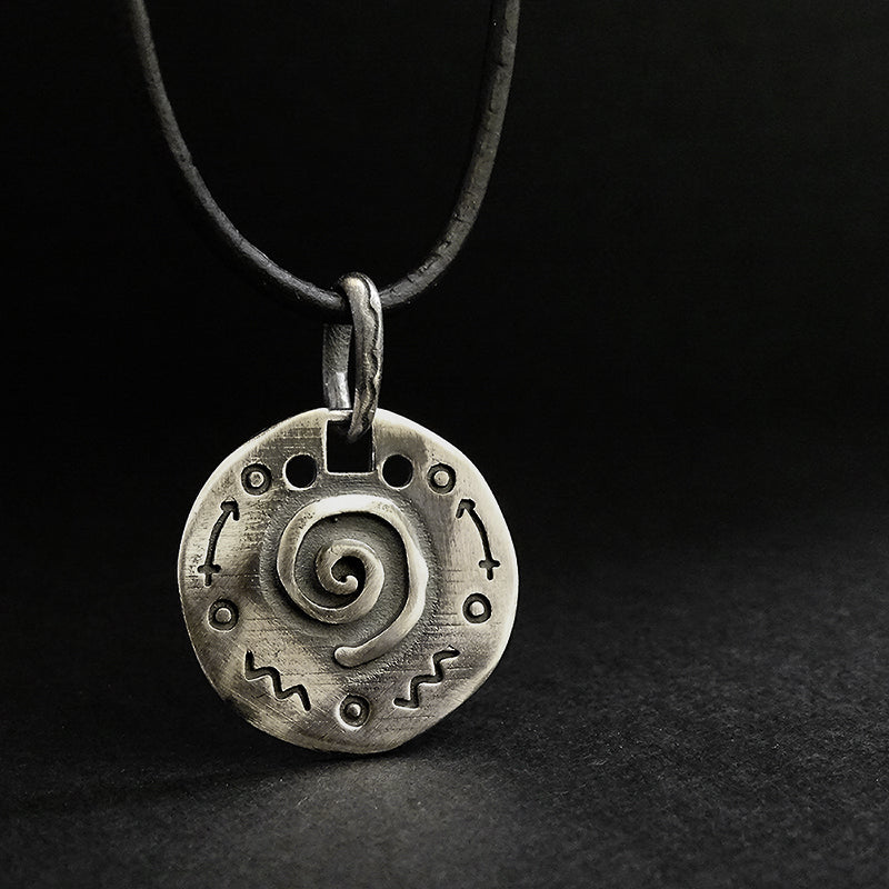 925 Oxidized Silver Mens Soulmate Charm Pendant Necklace