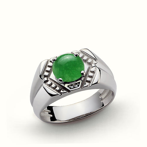 Natural Green Agate Gemstone Men's Ring in 925 Sterling Silver 9.5US size