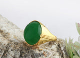 Men's Agate Ring in 10k Yellow Gold, Natural Green Stone Ring for Men - J  F  M