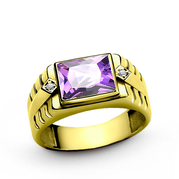 10k Yellow Gold Men's Ring with Amethyst Gemstone and Genuine Diamonds - J  F  M
