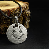 Balance and Optimism Mens Round Charm Pendant 925 Silver Boho Necklace