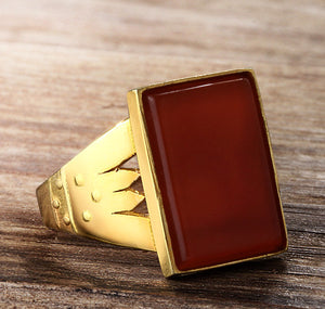 Men's Statement Ring in 10k Yellow Gold with Red Agate Stone - J  F  M