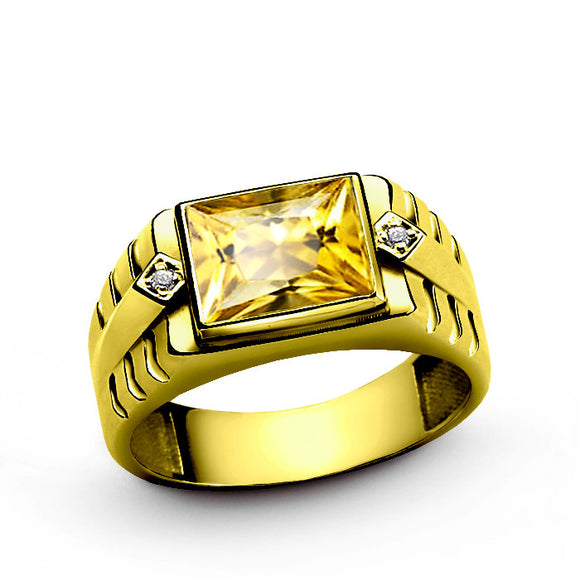 Men's Ring with Citrine Gemstone and Diamonds in 14k Yellow Gold - J  F  M