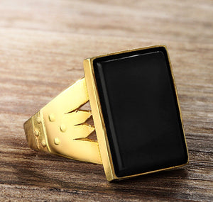 Men's Ring in 10k Yellow Gold with Black Onyx Stone - J  F  M