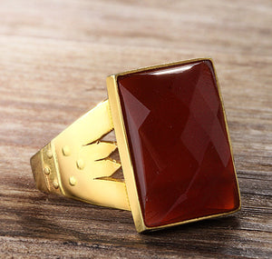 Statement Men's Ring in 10k Gold with Red Agate Stone - J  F  M