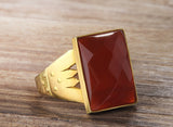 Men's Ring in 14k Yellow Gold with Red Agate Gemstone - J  F  M