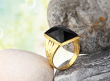 Men's Ring in 14k Yellow Gold with Black Onyx Stone - J  F  M