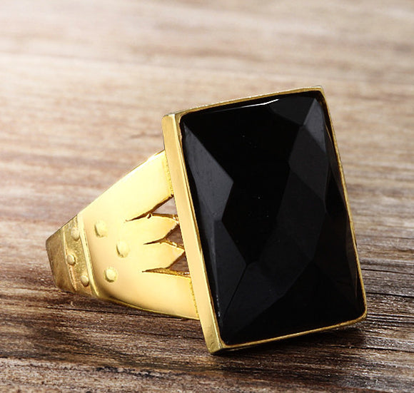 Men's Ring Black Onyx Stone in 10k Yellow Gold - J  F  M