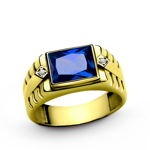 Men's Ring with Sapphire and Genuine Diamonds in 10k Yellow Gold - J  F  M