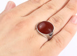 Men's Ring Natural Red Agate Gemstone in Sterling Silver - J  F  M