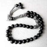 Personalized 925 SILVER 33 Islamic Prayer Beads Natural Onyx Tasbih Misbaha