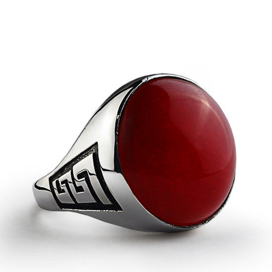 Statement Men's Ring with Natural Red Agate in 925 Sterling Silver - J  F  M