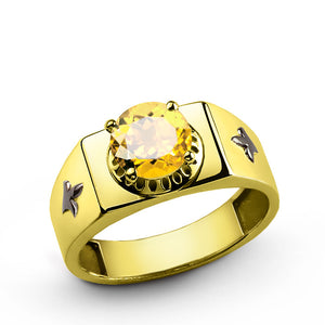 Men's Ring in 10k Yellow Gold with Citrine, Men's Gemstone Ring - J  F  M