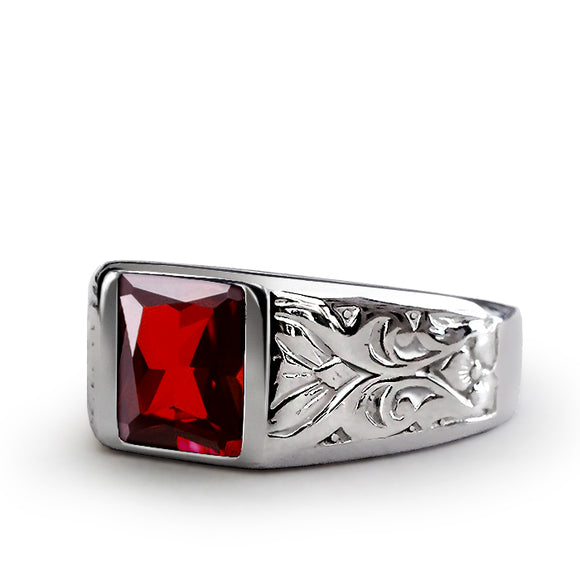 Mens Ring with Red Ruby Gemstone in 925k SOLID Sterling Silver