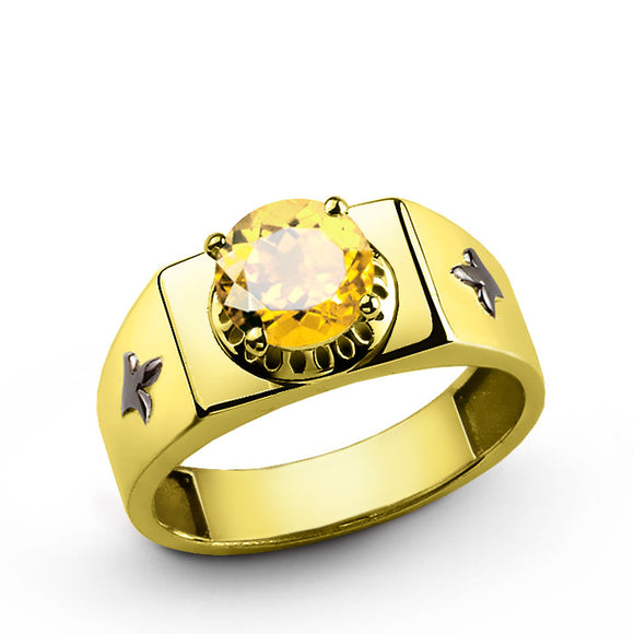 Men's Ring with Citrine Gemstone in 14k Yellow Gold - J  F  M