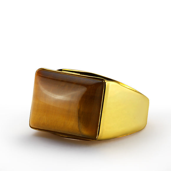 Men's Ring in 14k Yellow Gold with Natural Brown Tiger's Eye Stone - J  F  M