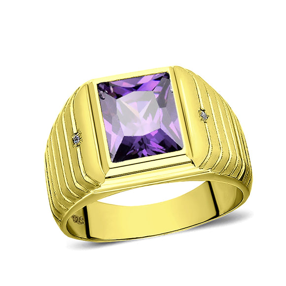 2 Diamond Accents 18K Gold Plated on 925 Solid Silver Mens Purple Amethyst Ring