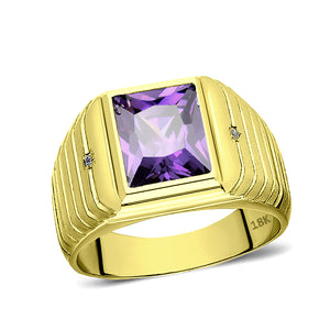 Mens Solid 18K Gold Purple Amethyst Ring 2 Natural Diamonds Fine Ring for Man
