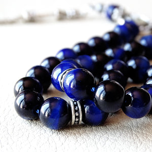 Blue Tigers Eye Gemstone 925 Silver Tasbeeh 33 Prayer Rosary Beads