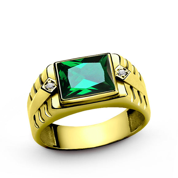 Men's Diamond Ring in 10k Yellow Gold with Green Emerald Gemstone - J  F  M