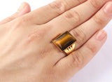 Men's Ring in 10k Yellow Gold with Brown Tiger's Eye, Men's Statement Ring - J  F  M