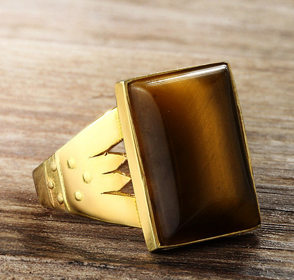 Men's Ring in 14k Yellow Gold with Brown Tiger's Eye Stone - J  F  M