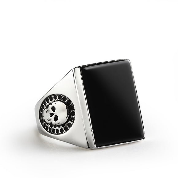 Skull Men's Ring in Sterling Silver with Black Onyx Stone - J  F  M