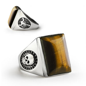 Skull Men's Ring in Sterling Silver with Brown Tiger's Eye Natural Gemstone - J  F  M