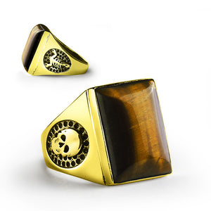 Tiger's Eye Men's Ring with Scorpion and Skull in 14k Yellow Gold - J  F  M