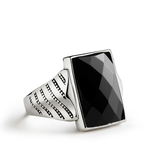 Men's Silver Ring with Natural Black Onyx Statement Sterling Silver Ring for Men - J  F  M