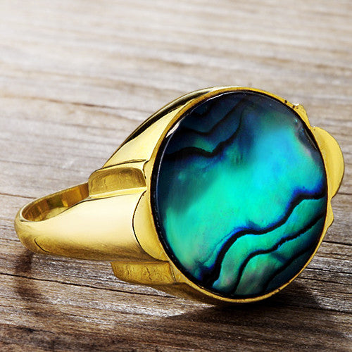 Men's Ring in 10k Yellow Gold with Blue Abalone, Men's Statement Ring - J  F  M