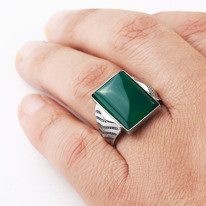 925 Sterling Silver Men's Ring with Natural Green Agate, Men's Stone Ring - J  F  M