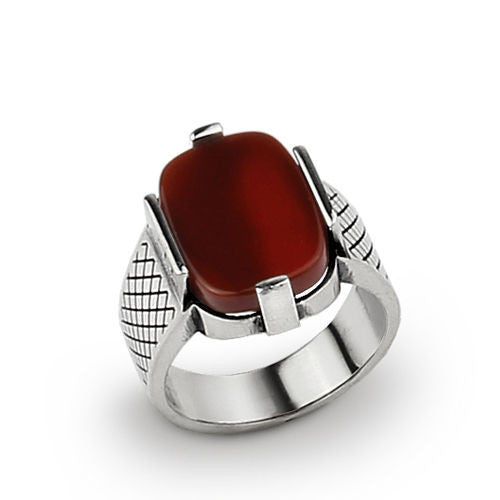 925 Sterling Silver Men's Ring with Red Agate Natural Gemstone - J  F  M
