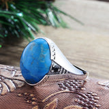 Men's Ring Sterling Silver 925 with Blue Turquoise Natural Gemstone - J  F  M